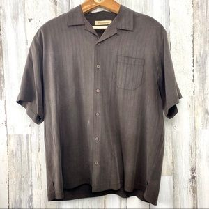 TOMMY BAHAMA BROWN SILK CAMP SHIRT MEN'S SIZE  XL